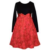 Bonnie Jean Long Sleeve Fit & Flare Dress