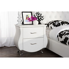 Baxton Studio Erin Faux-Leather Upholstered Nightstand