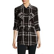 i jeans by Buffalo Long-Sleeve Roll-Tab Plaid Tunic