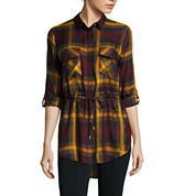 i jeans by Buffalo Long-Sleeve Roll-Tab Plaid Tunic