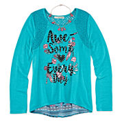 Self Esteem® Long-Sleeve Graphic Top with Tassel Necklace - Girls 7-16 and Plus