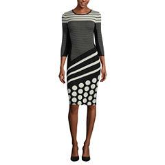 J. Taylor 3/4-Sleeve Sweater Dress