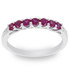 Womens Diamond Accent Round Red Lab-Created Ruby 10K Gold Stackable Ring