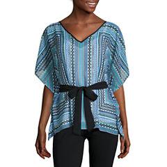 Alyx® Short-Sleeve Cold-Shoulder Tie-Front Top