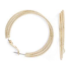 Monet® Gold-Tone Textured 3-Row Hoop Earrings
