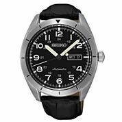 Seiko Mens Black Strap Watch-Srp715