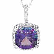 10K White Gold 1/6 C.T. T.W. Diamond & Genuine Exotic Purple Topaz Pendant Necklace