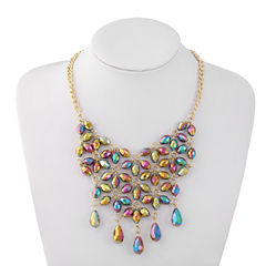 Liz Claiborne Beaded Bib Necklace Multi Goldtone