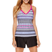 ZeroXposur® Weave Ladderback Tankini Swim Top or Knit Action Shorts