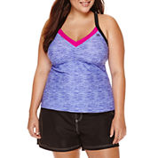 ZeroXposur® Spaced Mesh-Back Tankini or Woven Board Shorts - Plus