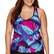 ZeroXposur® Glade Leaf-Printed Tankini Top - Plus