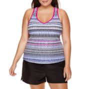 ZeroXposur® Woven Geo-Linear Printed Tankini or Knit Action Shorts - Plus
