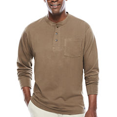Smith's Workwear Long-Sleeve Rib-Knit Henley Cotton Tee