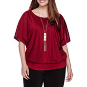 Alyx® Short-Sleeve Textured Bubble-Knit Top with Necklace - Plus