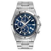 Citizen® Mens Silver-Tone Blue Dial Chronograph Watch AN3530-52L