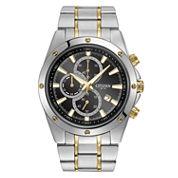 Citizen® Mens Two-Tone Black Dial Chronograph Watch  AN3534-51E