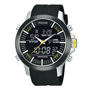 Pulsar® Mens Analog/Digital Black Strap Watch PW6001