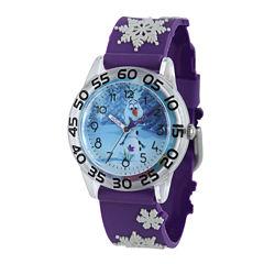 Disney Frozen Olaf Kids Time Teacher Textured Snowflake Strap Watch