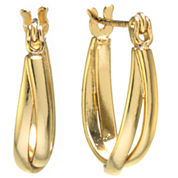 Silver Treasures Gold Over Silver Hoop Earrings