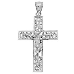 Sterling SIlver Diamond-Cut Crucifix Charm Pendant