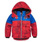 Boys Spiderman Heavyweight Puffer Jacket-Preschool