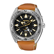 Seiko® Prospex Mens Brown Leather Strap Kinetic GMT Chronograph Sport Watch SUN055