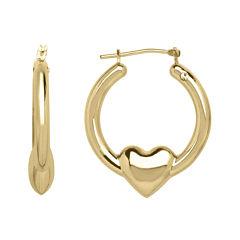 14K Yellow Gold 26.08mm Heart Hoop Earrings