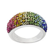 Rainbow Crystal Sterling Silver Domed Ring