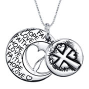 Inspired Moments™ Sterling Silver Faith, Hope, Love Disc Pendant Necklace
