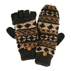 MUK LUKS® Chunky Knit Fair Isle Fingerless Flip Top Gloves