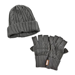 MUK LUKS® 2-pc. Cable Knit Beanie and Fingerless Gloves Set
