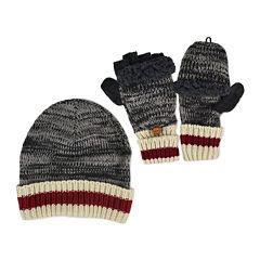 MUK LUKS® 2-pc. Marled Beanie and Flip Gloves Set