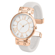 Mixit® Womens Rose-Gold-Tone and Gray Bangle Watch