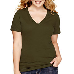 Arizona Short-Sleeve V-Neck T-Shirt - Juniors Plus