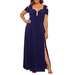 R & M Richards Short Sleeve Evening Gown-Plus