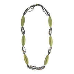 Designs by Adina Light Green Woven Flapper Necklace