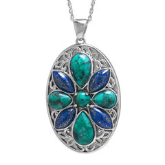 Enhanced Turquoise & Dyed Lapis Sterling Silver Medallion Pendant Necklace