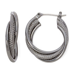 Liz Claiborne® Hematite Twist Hoop Earrings