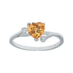 Genuine Citrine and White Topaz Sterling Silver Heart-Shaped Ring