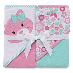 Okie Dokie Girl Hood Towel 2 Pk Set Pink Cat