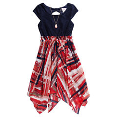 Emily West Short Sleeve Cap Sleeve Skater Dress - Big Kid Girls
