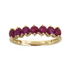 LIMITED QUANTITIES  Lead Glass-Filled Ruby 10K Yellow Gold 7-Stone Ring