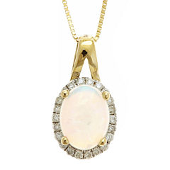 LIMITED QUANTITIES  Genuine Australian Opal and Diamond-Accent Pendant Necklace