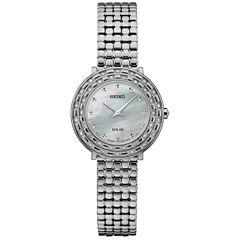 Seiko Tressia Solar Womens Silver Tone Bracelet Watch-Sup373