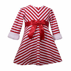 Bonnie Jean Long Sleeve Fitted Sleeve Empire Waist Dress - Baby Girls