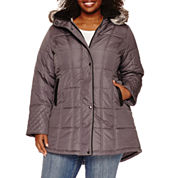 KC Collections Sidetab Puffer Jacket with Quilt Details-Plus