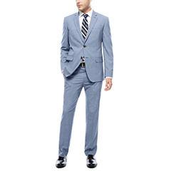 JF J. Ferrar® Blue Pattern Jacket or Flat-Front Pants - Slim Fit