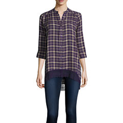 Wallpapher Long-Sleeve Plaid Tunic
