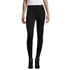Worthington® Snap-Hem Pleather-Trim Leggings - Tall
