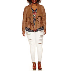 a.n.a® Drape-Front Jacket, Double-V-Neck Roll-Sleeve Blouse or Jeggings - Plus